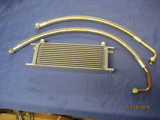MG PAIR OF MGC ROADSTER GT BRAIDED STAINLESS OIL COOLER HOSES AND 13 ROW COOLER