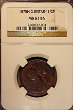 1875H Great Britain 1/2 Penny NGC MS 61 BN           ** FREE U.S. SHIPPING **