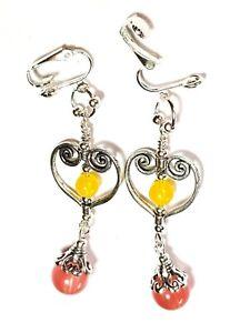 Long Pink Agate Clip-On Earrings Gemstone & Yellow Glass Drop Dangle Heart Clips