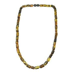 Amber Halskette (Women & Men's ) Yellow Black Matt Small Tubes Handmade