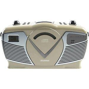 Sylvania[r] Srcd212-creme Retro-style Portable Cd Radio Boom Box [creme]