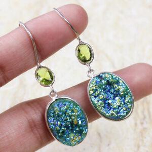 "Titanium Druzy 925 Silver Plated Handmade Gemstone Earrings of 1.7"" Ethnic Gift"