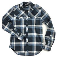 Black Diamond Equipment Mens Sm Blue Plaid Lightweight Flannel Long Sleeve Shirt
