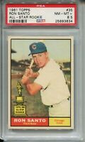 1961 Topps Baseball #35 Ron Santo Rookie Card RC Graded PSA NM MINT+ 8.5 Cubs