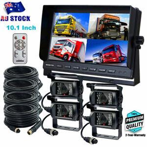 """10.1"""" Caravan 4x Camera 4PIN Quad Monitor 12V/24V IR Reversing CCD Camera System"""