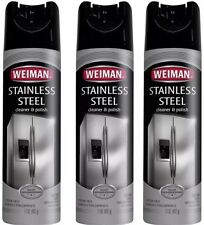 3 PACK Weiman Stainless Steel Cleaner & Polish Aerosol Large 17 Oz Can FREE SHIP