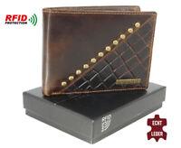 Herren Geldbörse Leder RFID Schutz Geldbeutel hochwertig Geschenkbox 2 Farben!