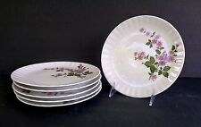 "BAVARIA  WUNSIEDEL PORCELAINE PLATES (SET OF 6) 7 1/2"" PURPLE FLORAL ON WHITE"