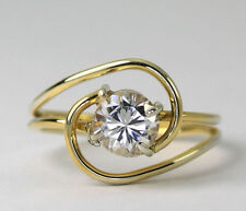 Vintage Gold Plated Sterling Silver Cubic Zirconia Looping Band Ring SZ 5.75