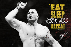 BROCK LESNAR GYM MOTIVATIONAL QUOTE POSTER PRINT PHOTO 12 X 8  - PRE SIGNED
