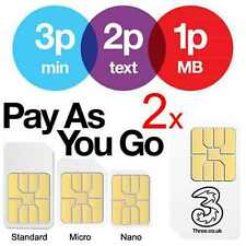 2x Three Pay As You Go PAYG SIM Card Micro Nano Adapter for iPhone iPad Samsung