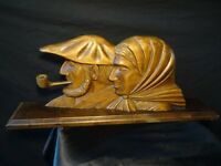 Original Antique French Carved Wood Man & Pipe With Wife Shelf Sculpture Signed