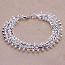 Fashion 925Sterling Solid Silver Jewelry Fish bone Bracelet For Women H050