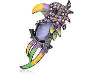 Purple Rose Diamante Rhinestone Parrot Bird Head Profile Pin Brooch SU