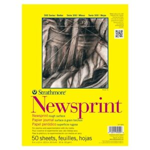 "Strathmore 300 Series Newsprint Pad Rough 50 sheets 9x12"""""