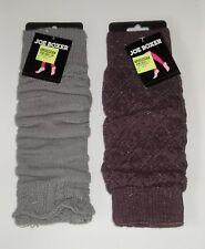 2 Pairs Leg Warmers Knee High /Boot Socks - Gray and Burgundy