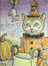 ACEO  Fantasy Original Trick or Treat (cat)