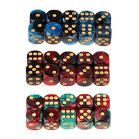30 Pieces Two Colors Square 6 Sided 16mm D6 Resin Role Play Gaming Dice Set