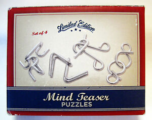 MIND TEASER PUZZLES Limited Edition 4 Steel Puzzles w/Solutions For Adults
