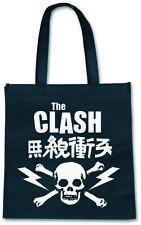The Clash schwarz weiß Schädelknochenbandlogo-Einkaufstasche offiziellen