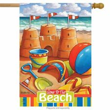 "Gone to the Beach Summer House Flag Nautical Sand Castles 28"" x 40"""