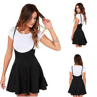 2017 Women Fashion Black Skater Skirt w/ Shoulder Straps Pleated Summer Dress US
