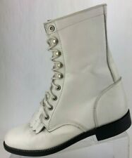 Justin Boots Kiltie Lace Up White Western Leather Mid Calf Roper Womens 6 B