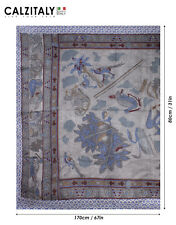 Foulard Estivo Colorato, Pareo Donna, 100% Seta, 170x80, Pashmina Stampa Mosaico