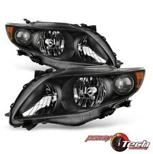Amber Reflector 2009-2010 Toyota Corolla S/XRS Black Headlights Headlamps 09-10
