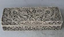 Exquisite Chinese Silver Dragon Beast Box Boxes Pot Jar Statue RN