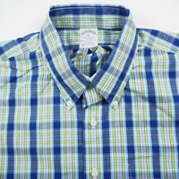 Brooks Brothers Non-Iron Blue Men's XL Short Sleeve Button Up Plaid Shirt Cotton