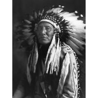 Reed Native American Chief Full Headdress Old Photo Canvas Wall Art Print Poster