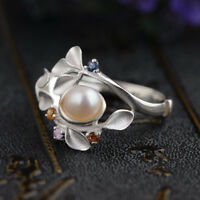 925 Silver Pearl Beauty Fashion Women Jewelry Engagement Wedding Ring Size 6-10