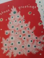Mid Century Vtg Red & White Silvered Glitter CHRISTMAS Tree GREETING CARD