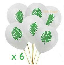 Tropical Palm Leaves Fern Leaf Latex Balloons (x6) White Green Hawaiian Party
