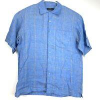 Bugatchi Uomo Mens Button Front Shirt Blue Short Sleeve Size L Large