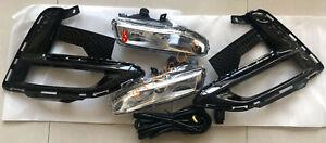 Glossy Black Bumper Bezels LED Fog Lights Cable Kit For Nissan Sentra 2020-2021