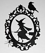 Large Halloween Vintage Old Witch Frame Paper Die Cut Decor (29x20cm)