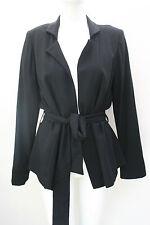CALVIN KLEIN Wrap Around Wool Blend Jacket Blazer Belted Black Size 14