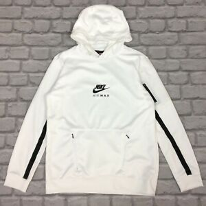 NIKE BOYS WHITE AIR MAX OVERHEAD POLY HOODIE TRACK TOP HOODED RRP £55 AD