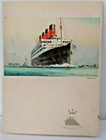 Cunard White Star RMS Queen Elizabeth (Aquitania pictured front) Menu card 1947