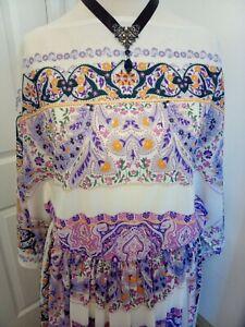1970s Floaty Purple Floral Maxi Dress - Ditsy Vintage Festival Hippy M L