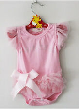 Newborn Baby Girl Princess Bowknot Bodysuit Romper Jumpsuit Clothes Outfit 0-18M
