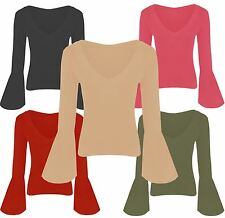 New Womens Flared Baggy Sleeve Stretch Tops 8-22