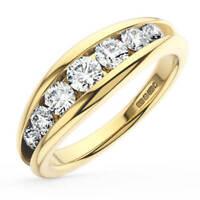 0.80ct Round Brilliant Cut Diamonds Half Eternity Ring in 18K Yellow Gold