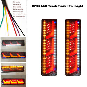 2PCS LED Truck Tail Light Trailer Brake Running Turn Signal Indicator Lamp Kit