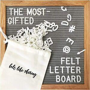 Gray Felt Letter Board 10x10 inches Changeable 300 White Letters Oak Frame Wall