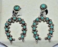 VTG MEXICO Sterling Silver Turquoise Petit Point STYLE Screwback Dangle Earrings