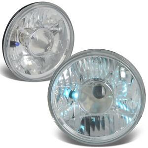 "7"" 7x7 H6024 ROUND CHROME HOUSING GLASS PROJECTOR HEADLIGHT+H4 BULBS+BLUE LAMPS"