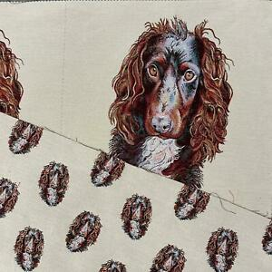 Spaniel Dog Panel, Colourful Cotton Linen Look Craft Fabric Upholstery Fabric